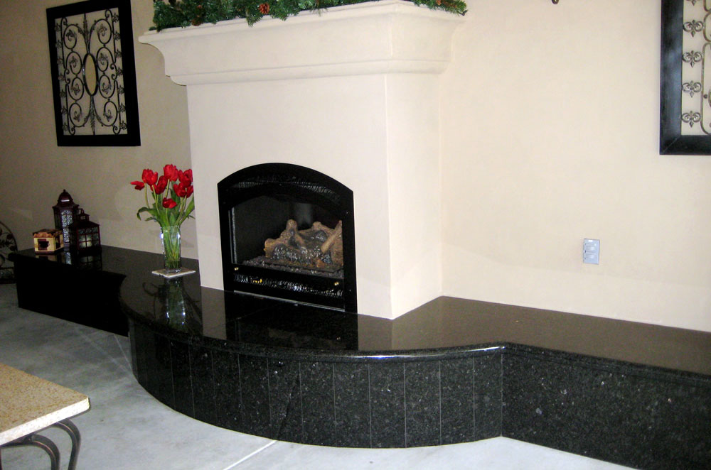 Granite Outdoor Fireplace with Sitting Area Hearth