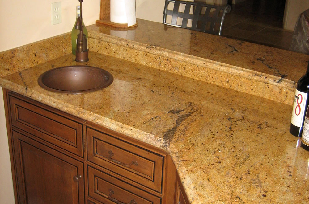 Granite Wetbar with Copper Topmount Sink