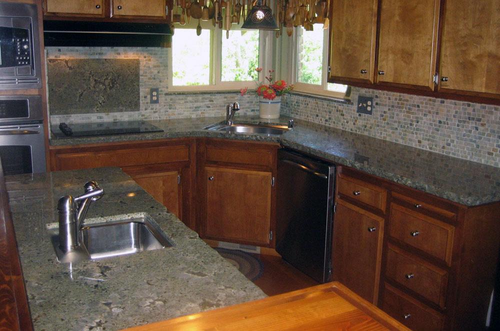 Sea Foam Green Granite Kitchen with Chiseled Edge