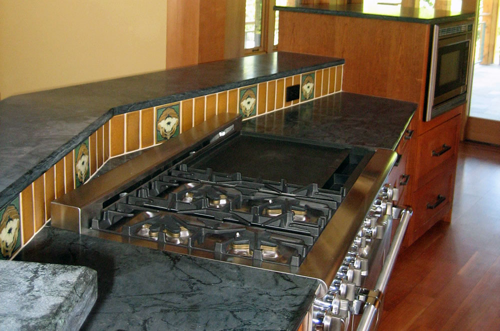 Green Soapstone Kitchen with Raised Bar