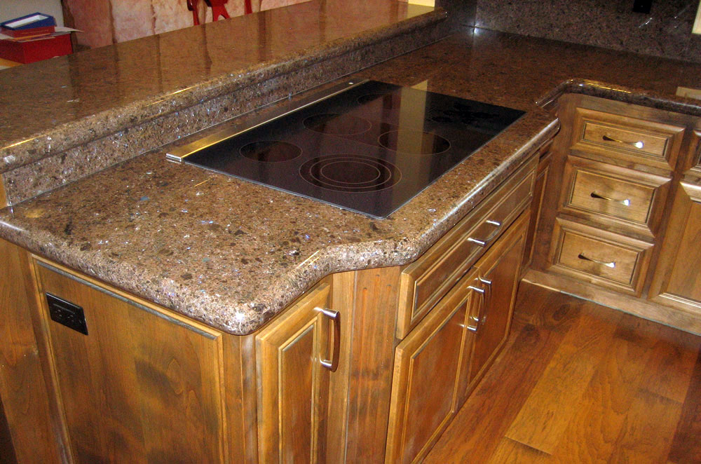 Granite Kitchen Raised Bar with Full Backsplash