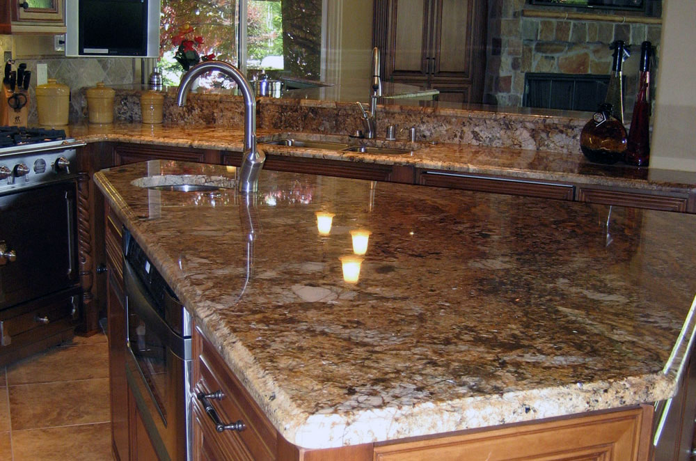 Granite Kitchen with Raised Bar and Ogee Eased Edge