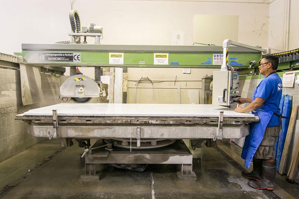 Stone Slab Layout & Cutting Process