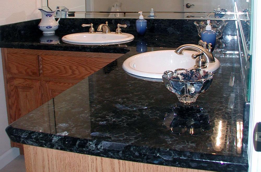 Labrador Azul Granite Double Vanity with Diamond Edge