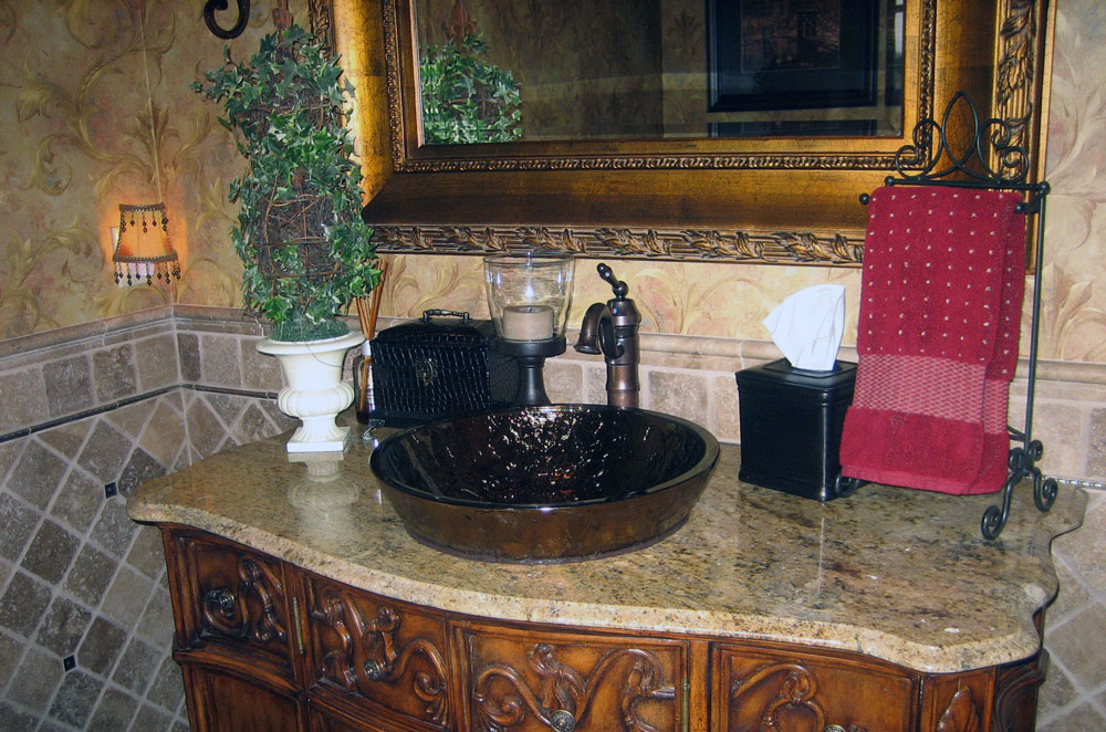 Granite Vanity with Vessel Bowl Sink and Non-Laminated Edge