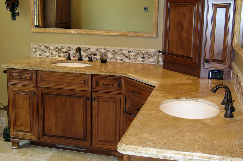 Granite Double Vanity with Ogee Eased Edge