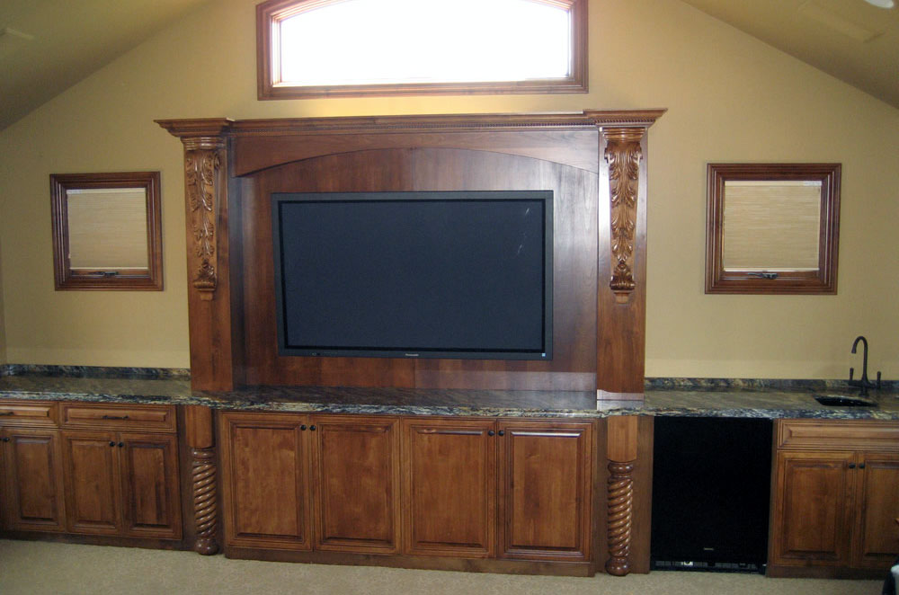 Granite Entertainment Center with Wetbar