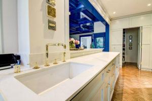 Calcutta Nuvo Ceasarstone Quartz Kitchen Perimeter with Undermount Sink