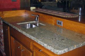 Sea Foam Green Granite Kitchen Prep Sink with Chiseled Edge
