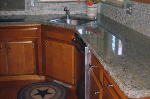 Sea Foam Green Granite Kitchen with Chiseled Edge