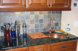 Granite Wetbar with Undermount Sink & Full Bullnose Edge