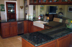 Granite Kitchen with Apron Sink and Full Bullnose Edge