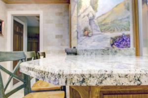 Safari Green Granite Kitchen Peninsula with Bevel Edge