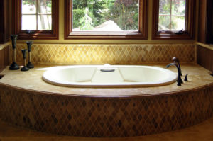 Travertine Tub with Ogee Eased Edge