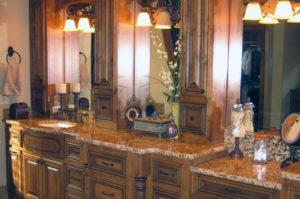 Granite Vanity and Powder Counter with Full Bullnose Edge
