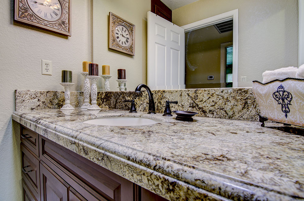 Amarretto Granite Vanity with Undermount Sink & Dupont Offset Edge