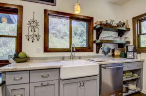 Taj Mahal Quartzite Kitchen with Apron Sink