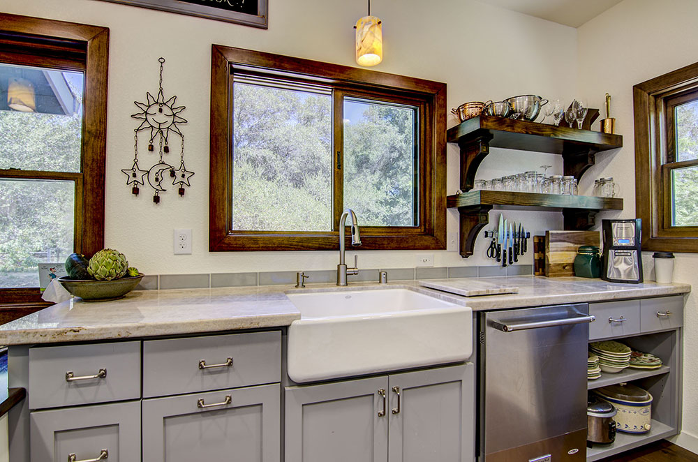 Taj Mahal Quartzite Kitchen with Apron Sink
