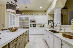 Taj Mahal Quartzite Kitchen with Double Eased Edge