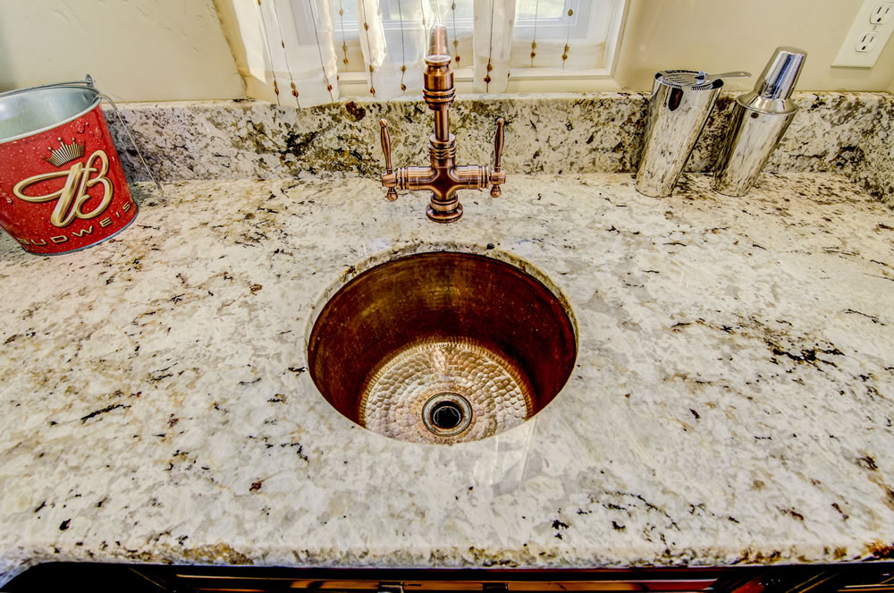 Snowfall Granite Bar with Undermount Copper Sink